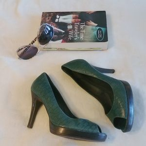 Green Staccato heels